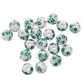 Abalorios de cerámica florales en verde
