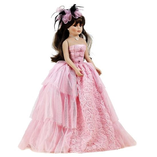 Muñeca de porcelana móvil con vestido de noche