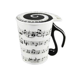Taza de cerámica. Diseño de música. Tapa con notas musicales